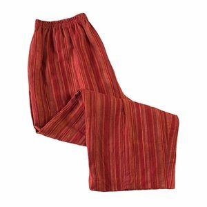 Eskandar Rust Orange Striped Linen Pull On Pants 1